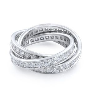 Cartier  18K White Gold Trinity 1.55 Cttw Ring